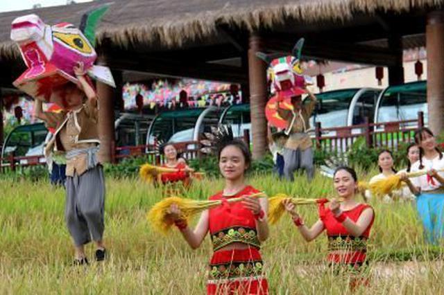 三亚水稻公园举行开镰节 市民游客体验丰收喜悦