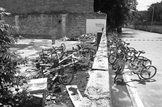 共享单车被扔进围墙空地内 市民:看见城管把车搬来