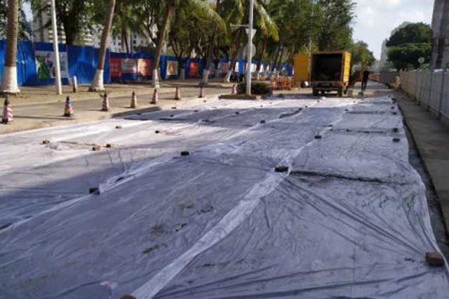 海口南海大道雨水方沟抢修路段18日晚恢复通车