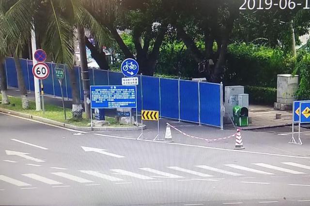 海口白龙路人行道15日起分段围挡施工