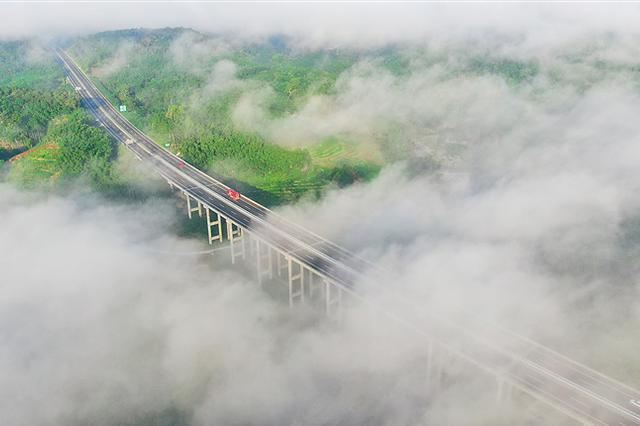 海南中线高速:生态景观路 穿行云雾间