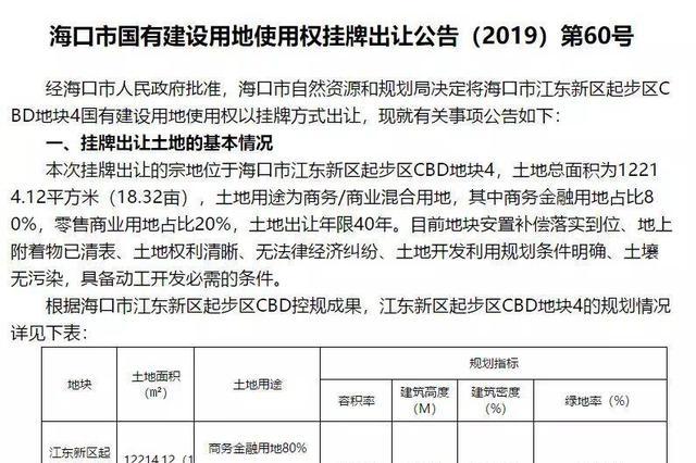起始价约2.05亿元!海口江东新区起步区再出让1宗土地 11月5日