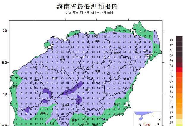 海南发布寒冷四级预警 17日夜间将降温