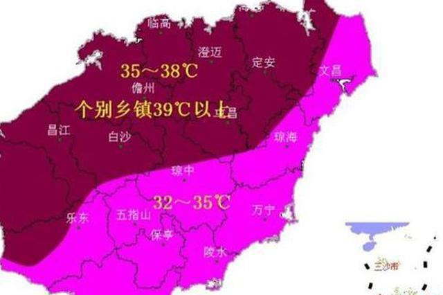 2021年5月18日~23日海南岛最高气温预报图。海南省气象服务中心 供图