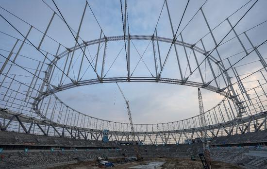 三亚体育场索结构施工完成 钢结构索结构达到设计初始态