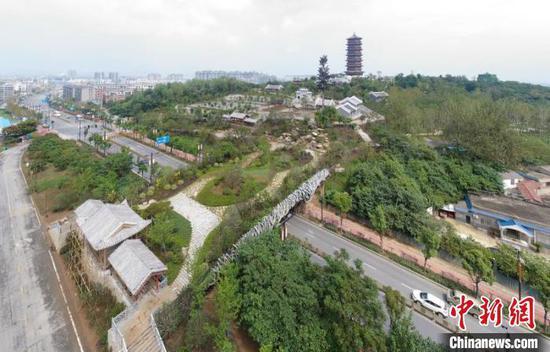 该天桥集交通和景观为一体 杨东 摄