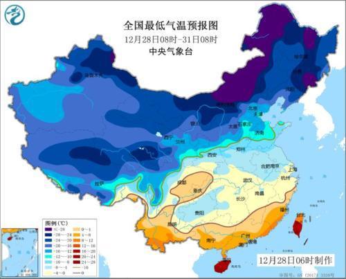 全国最低温度预报图(12月28日08时-31日08时)