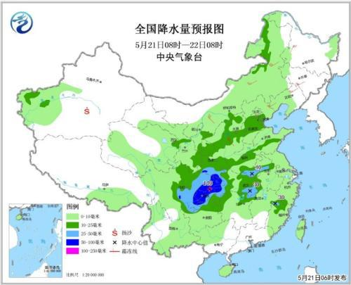 全国降水量预报图(5月21日08时-22日08时)
