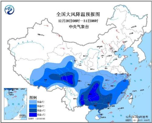 全国大风降温预报图(12月28日08时-31日08时)