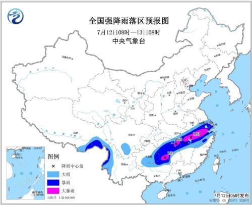 全国强降雨落区预报图(7月12日08时-13日08时)