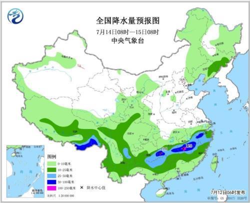 全国降水量预报图(7月14日08时-15日08时)