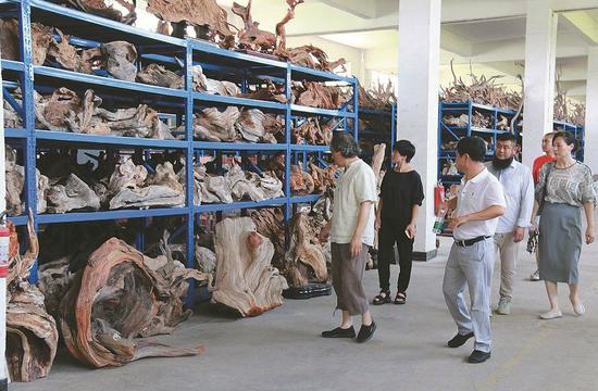 图为:龙宇成(左三)接待中国根雕大师张德和(左一)参观