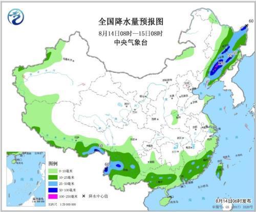 全国降水量预报图(8月14日08时-15日08时)