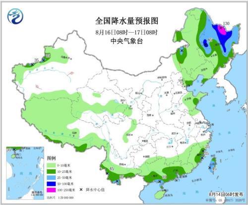 全国降水量预报图(8月16日08时-17日08时)