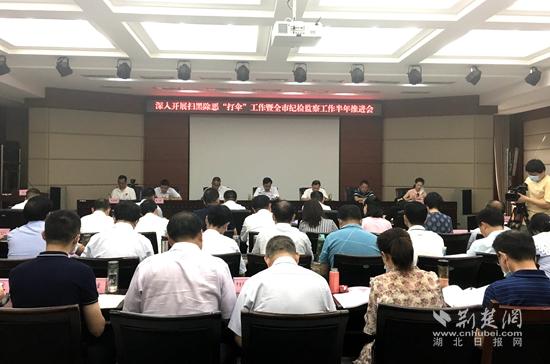 8月6日,黄石市召开2020年全市纪检监察工作半年推进会。(记者 吕鉴蕾 摄)