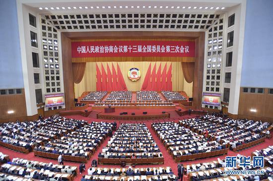 5月21日,中国人民政治协商会议第十三届全国委员会第三次会议在北京人民大会堂开幕。新华社记者 李涛 摄