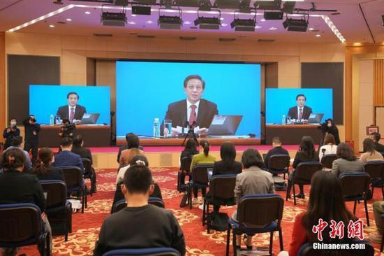 3月4日晚,十三届全国人大四次会议新闻发布会在北京人民大会堂新闻发布厅举行。图为分会场。中新社记者 蒋启明 摄