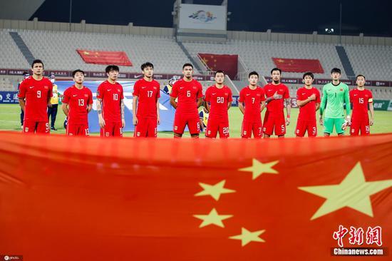 国足在比赛中。图片来源:IC photo