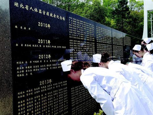 图为:医护人员在石门峰遗体器官捐献者纪念碑前缅怀器官捐献者。