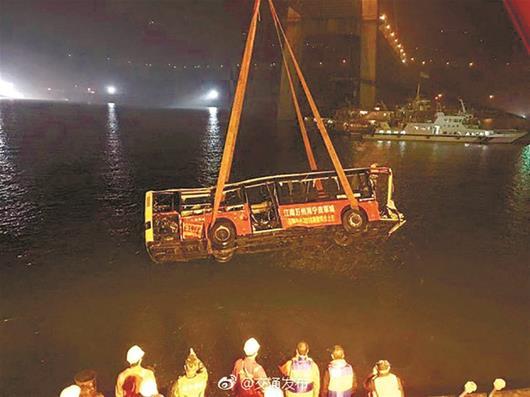 图为:昨晚11时30分左右,公交车被打捞出水