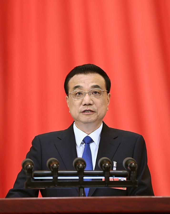 5月22日,第十三届全国人民代表大会第三次会议在北京人民大会堂开幕。国务院总理李克强作政府工作报告。 新华社记者 申宏 摄