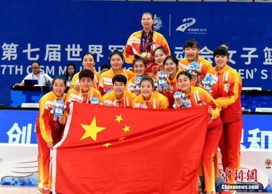 资料图:10月26日晚,第七届世界军人运动会女子篮球决赛在武汉市举行。中国队93:65战胜巴西队获得本届军运会女子篮球比赛金牌。图为中国队获胜后全体队员与教练员合影留念。 中新社记者 安源 摄