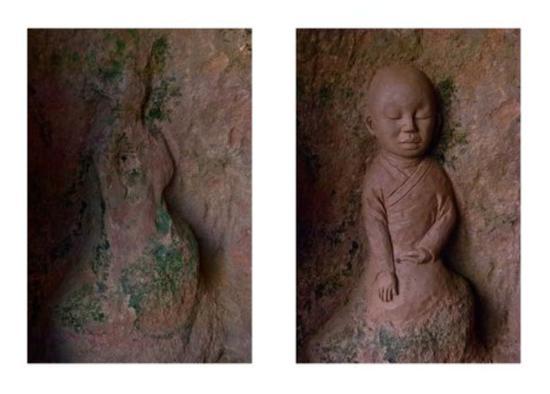 """""""我佛""""艺术展所展出的部分修复前后的对比照片。重庆十方艺术中心供图"""
