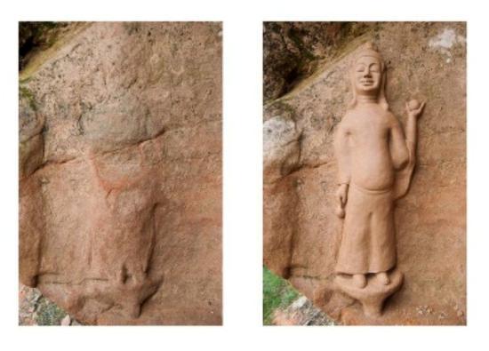 于春通过照片初步判断,褚秉超所修复创作的造像为古代文物,或为唐代遗留下来的菩萨像。重庆十方艺术中心供图