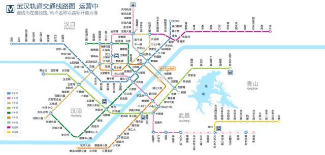 武汉轨道交通图,来源武汉地铁官网