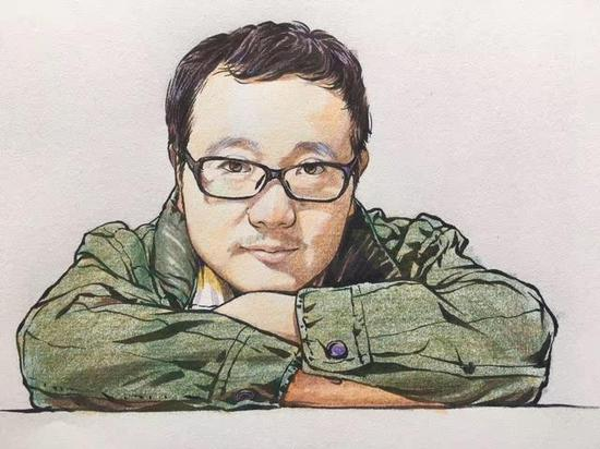 陈婉清画的刘慈欣肖像