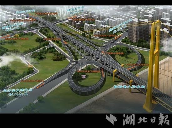 杨泗港长江大桥汉阳岸效果图。