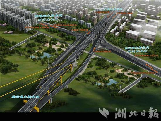 杨泗港长江大桥武昌岸效果图。
