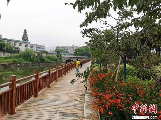 护城河边新修的木栈道 胡传林 摄