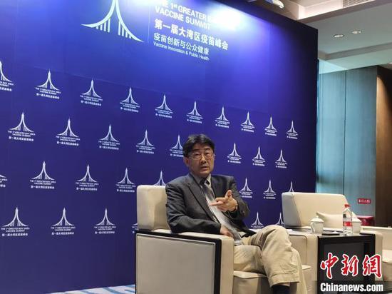 中国科学院院士、中国疾控中心主任高福12日在深圳接受专访 唐贵江 摄