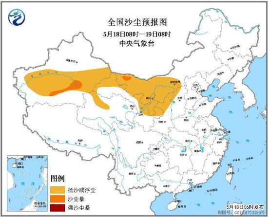 图2 全国沙尘预报图(5月18日08时-19日08时)