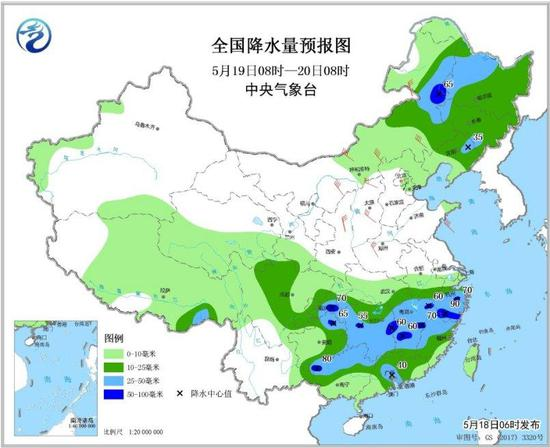 图4 全国降水量预报图(5月19日08时-20日08时)