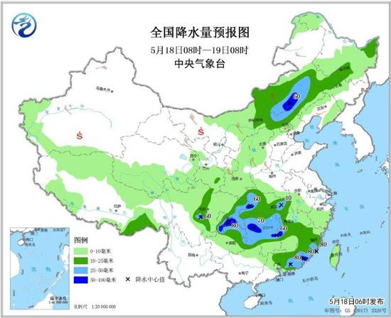图3 全国降水量预报图(5月18日08时-19日08时)