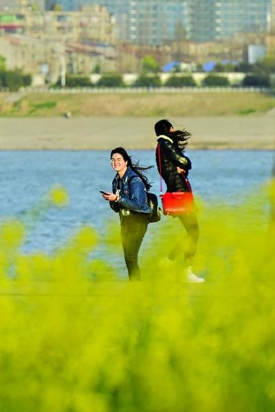 汉口江滩游玩的女孩发丝随风飞扬                   记者胡冬冬 摄