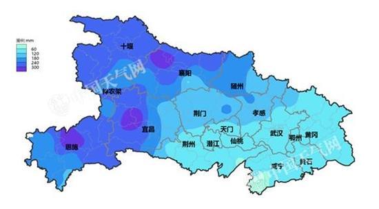 湖北省08-08时累计降雨量色斑图(2017年9月21日-10月12日)