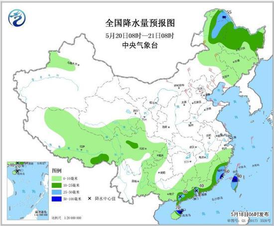 图5 全国降水量预报图(5月20日08时-21日08时)