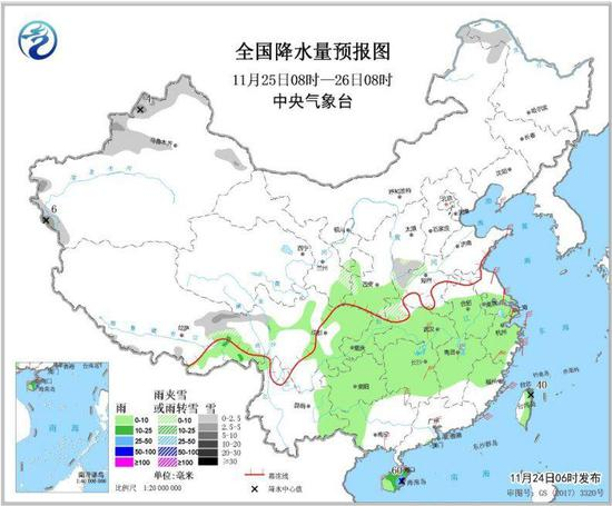 图3 全国降水量预报图(11月25日08时-26日08时)