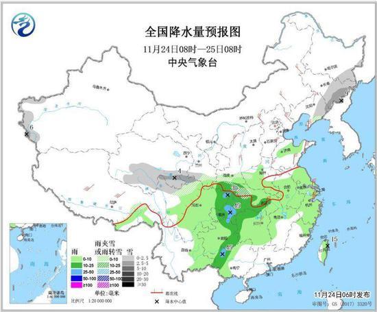图2 全国降水量预报图(11月24日08时-25日08时)