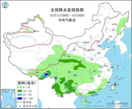 图4 全国降水量预报图(10月5日08时-6日08时)