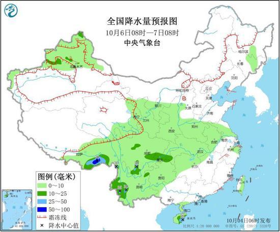 图4 全国降水量预报图(10月6日08时-7日08时)