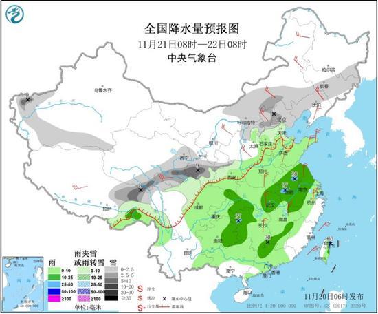 图4 全国降水量预报图(11月21日08时-22日08时)