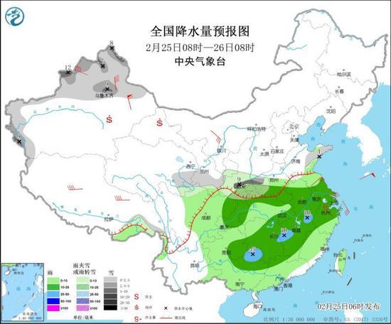 全国降水量预报图(2月25日8时-26日8时)