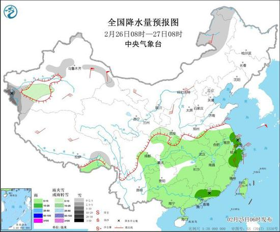 全国降水量预报图(2月26日8时-27日8时)