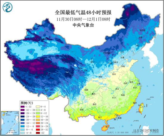 全国最低气温预报图 图片来源:中央气象台官网