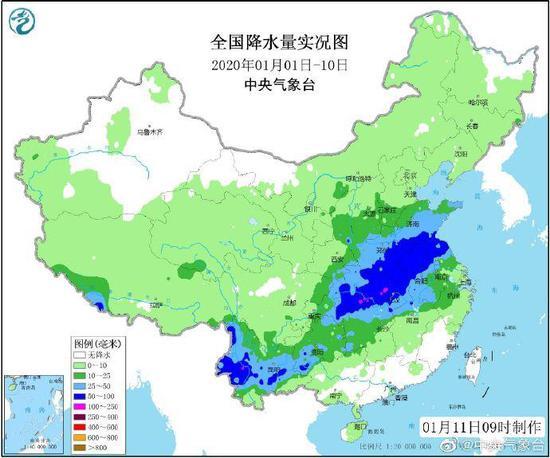 全国降水量实况图 来源:中央气象台