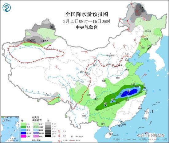 全国降水量预报图(3月15日08时-16日08时)